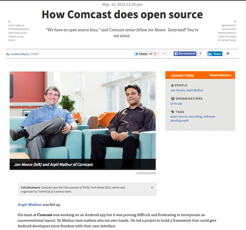 Technically Philly on Open Source in Comcast