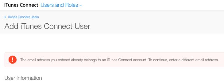 iTunesConnect error