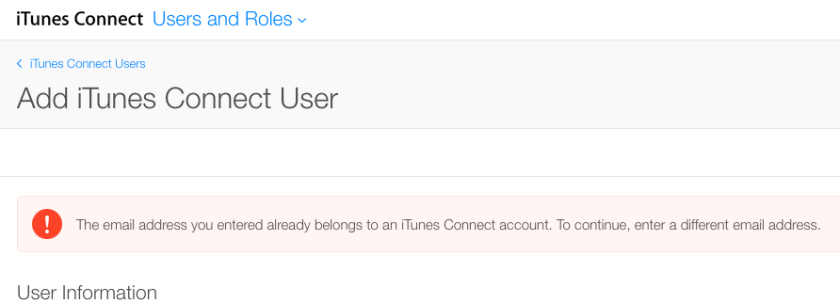 iTunesConnect error
